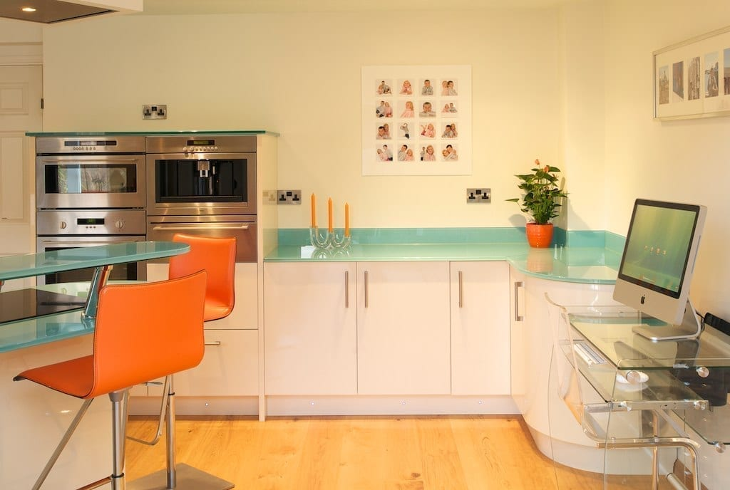 glass worktop kitchen