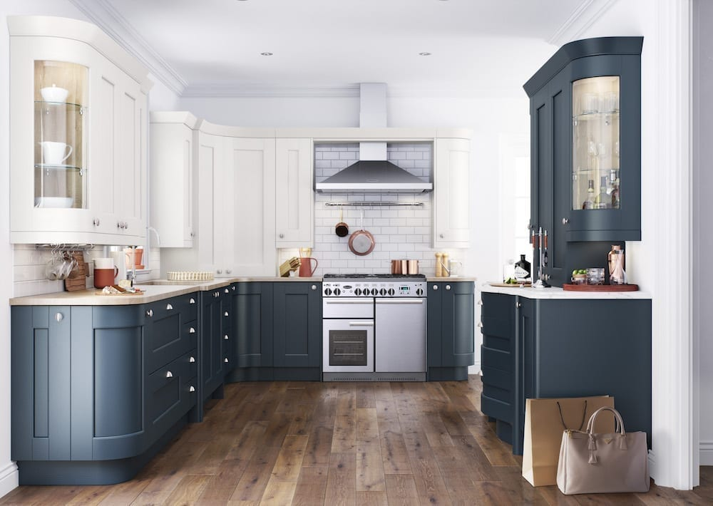 shaker kitchen blue units