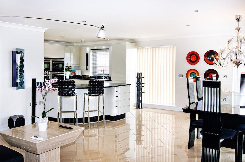 monochrome kitchen open plan